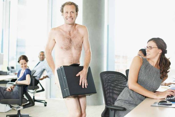 Naked-businessman-with-briefcase-in-office