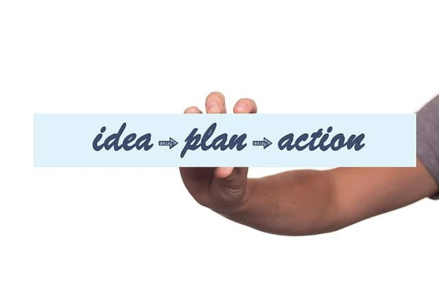 words 'idea', 'plan' and 'action' on paper